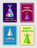 Happy Birthday Cards Set of Vector Illustrations. Colorful frames and striped background with abstract shine, cones with stars and different flowers royalty free illustration