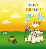 Happy birthday cards sheeps. Greeting card Happy Birthday with a pop-lambs birthday in the air and the angels rolling in his confetti Royalty Free Stock Photos