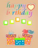 Happy Birthday Cards With Cute Birds And Gift Box Royalty Free Stock Images