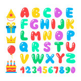 Happy birthday cartoon alphabet set. Air balloons font. Birthday icon set. Flat vector elements. Figures and letters for celebration design. Isolated on white Royalty Free Stock Photos