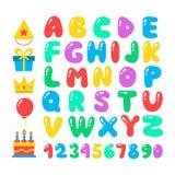 Happy birthday cartoon alphabet set. Air balloons font. Birthday icon set. Flat vector elements Royalty Free Stock Photos