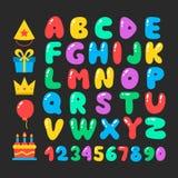 Happy birthday cartoon alphabet set. Air balloons font. Birthday icon set. Flat vector elements Stock Image