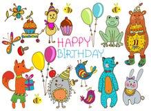 Happy birthday cartoon card. Happy birthday card, funny cartoon set with mouse, fox, bear, wolf, frog, hedgehog and hare Royalty Free Stock Photography