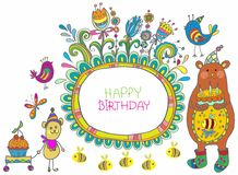Happy birthday cartoon card Royalty Free Stock Photos