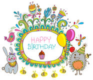 Happy birthday cartoon card Stock Images