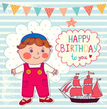 Happy Birthday cartoon card Stock Images