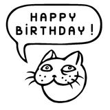 Happy Birthday! Cartoon Cat Head. Speech Bubble. Vector Illustration. Funny cool emoticon character. Contour freehand digital drawing cute character. Cheerful Stock Photos