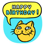 Happy Birthday! Cartoon Cat Head. Speech Bubble. Vector Illustration. Funny cool emoticon character. Contour freehand digital drawing cute character. Blue Royalty Free Stock Images