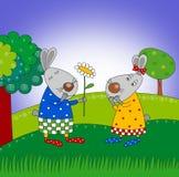 Happy birthday. Cartoon characters. Royalty Free Stock Photo