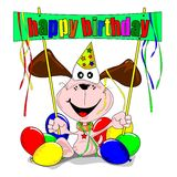 Happy birthday with cartoon dog Royalty Free Stock Image