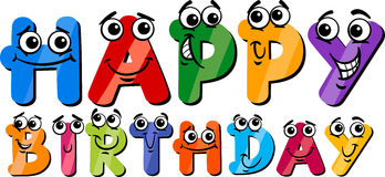 Happy birthday cartoon sign Stock Images