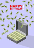 Happy Birthday.  Case of money. Wealth. Congratulations  card Stock Photography