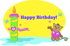 Happy Birthday Cat with Candle Stock Photography