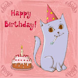 Happy birthday cat Stock Images