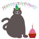 Happy Birthday Cat with Hat Cupcake and Candle. Illustration Royalty Free Stock Photo