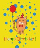 Happy birthday. Cat with tulips. Color card. Stock Photos