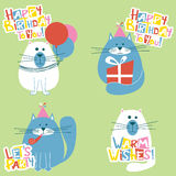 Happy Birthday Cats Set Vector Illustration