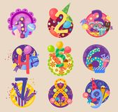Happy birthday celebration 1-10 age number. Happy birthday celebration 1-10 age number letters text characters badges vector icons. Celebration emblem Stock Image