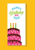 Happy birthday celebration card with cake Royalty Free Stock Images