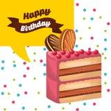 happy birthday celebration card with delicious cake Stock Image
