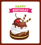 happy birthday celebration card with delicious cake Stock Photo