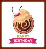 happy birthday celebration card with delicious cake Royalty Free Stock Images
