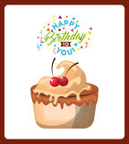 happy birthday celebration card with delicious cake Stock Image