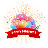 Happy birthday celebration with colorful balloon and confetti Royalty Free Stock Photos