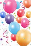 Happy birthday celebration with colorful balloon and confetti Stock Photo