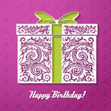 Happy Birthday! Celebration decorative background with gift box. And place for your text. Vector Illustration Stock Image