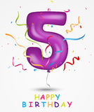 Happy Birthday, celebration greeting card with number and text royalty free illustration