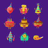 Happy Birthday And Celebration Party Symbols Cartoon Characters, Including Birthday Cake, Party Hat, Balloon, Party Horn. And Fireworks. Colorful Humanized Stock Images