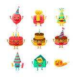 Happy Birthday And Celebration Party Symbols Cartoon Characters Set, Including Birthday Cake, Party Hat, Balloon, Party. Happy Birthday And Celebration Party Stock Image