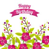 Happy birthday celebration poster floral Stock Images