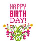 Happy birthday celebration poster floral. Vector illustration design Royalty Free Stock Photography