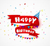 Happy birthday celebration with ribbon and confetti Royalty Free Stock Photo