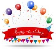 Happy birthday celebration with ribbon and confetti Stock Image