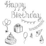 Happy birthday celebration set graphic art black white isolated illustration Stock Photography