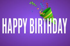 Happy Birthday. Celebratory banner for your design. Explodes a cracker with a multi-colored cantilever. stock illustration