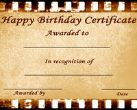 Happy birthday certificate. With some damage on it Royalty Free Stock Photos