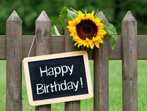 Happy Birthday Chalkboard Sign. Wooden fence with sunflower and chalkboard with the words Happy Birthday Stock Image