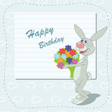 Happy birthday. Cheerful hare with bouquet of beautiful flowers stock illustration
