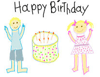 Happy Birthday child like drawing Royalty Free Stock Photo