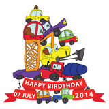 Happy birthday.Child's hand draw cars.Funny Doodle composition Royalty Free Stock Image
