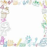 Happy Birthday childish scribbles frame isolated on white background Royalty Free Stock Photos