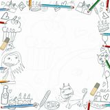 Happy Birthday childish sketches frame  on white background Royalty Free Stock Images