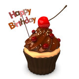 Happy Birthday Choco Cake. Happy Birthday cupcake with  chocolate cream, red currants and cherry. White background Royalty Free Stock Photography