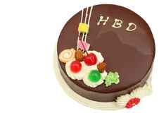 Happy birthday chocolate cake on white Stock Images