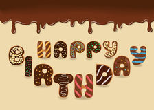 Happy Birthday. Chocolate Donuts Stock Photo