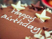 Happy birthday chocolate mousse cake Royalty Free Stock Photo